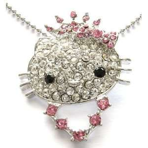 HELLO PRINCESS KITTY PINK CRYSTAL NECKLACE PENDANT