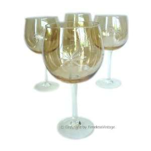 Amber Cut Art Glass Palm Tree Tropical Wine Glasses