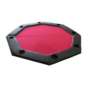 RED Padded Octagon Folding Poker Table Top with Cup Holders in Red
