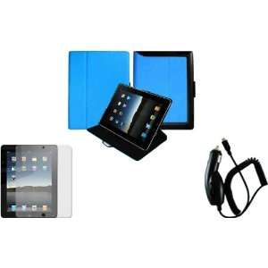 Blue Premium Leather Case Cover+LCD Screen Protector+Car