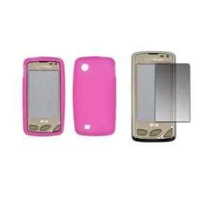 Premium Hot Pink Soft Silicone Gel Skin Cover Case + LCD Screen