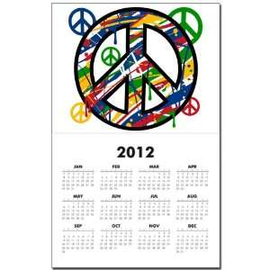 Calendar Print w Current Year Peace Symbol Sign Dripping Paint