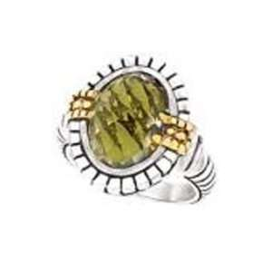 925 Silver & Green Quartz Oval Checkerboard Ring with 18k Gold Accents