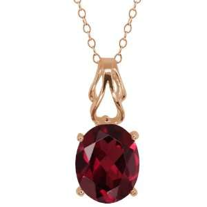 2.00 Ct Oval Red Garnet 18k Rose Gold Pendant Jewelry