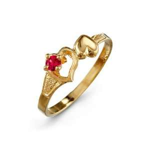 Red CZ Double Heart 14k Yellow Gold Womens Love Ring Jewelry