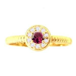 14K Yellow Gold Small Round Gemstone and Diamond Disc Ring