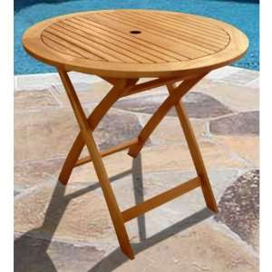 VIFAH Round Outdoor Wood Folding Table Patio, Lawn