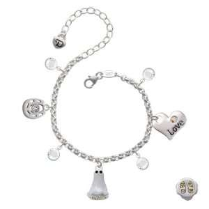 Silver Ghost with Black Swarovski Crystals Love & Luck Charm Bracelet