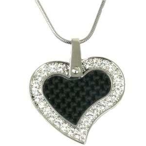 Heart Pendant Necklace Stainless Steel Black Carbon Fiber CZ Diamonds