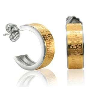 Stainless Steel Hoop Huggies Earrings Diamond Delight