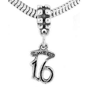 Silver Small Sweet 16 Dangle Bead Charm Jewelry