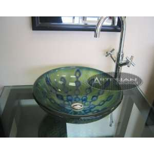 Blue Green Hand Crafted Round Glass Glass Sink #183