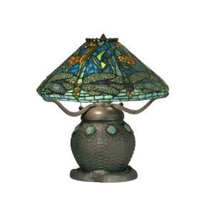 TT90435 Tiffany Table Lamp, Antique Verde Green and Art Glass Shade