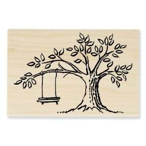 P121 Wood Handle Rubber Stamp, Tree Swing Arts, Crafts & Sewing