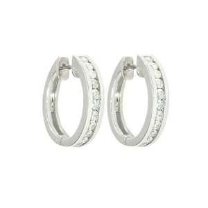 10k White Gold Channel Set Diamond Hoop Earrings (1/6 cttw, J K Color