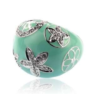 Designer Inspired Turquoise Crystal Ring Size 7 Fashion