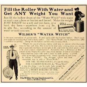 1910 Ad Wilder Water Witch Lawn Care Garden Roller Hose   Original