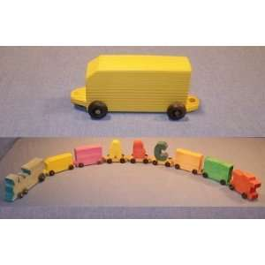 Wooden Toy   Train w/ Name: Coal Car: Toys & Games