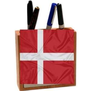 Rikki KnightTM Denmark Flag 5 Inch Tile Maple Finished Wooden Tile