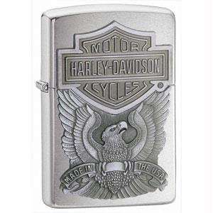 Zippo Harley Davidson Eagle/Logo Emblem Lighter (Silver, 5 1/2 x 3 1/2