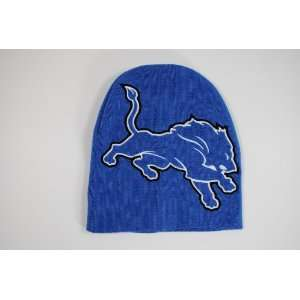 Detroit Lions Blue Big Logo Beanie Cap Winter Hat