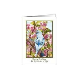 Pastors Wifes Birthday with Bird and Flowers Card