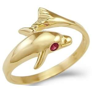 New Solid 14k Yellow Gold Dolphin Ruby Eye Ladies Ring Jewelry