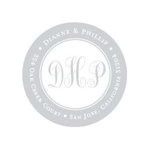 Silver Border Round Return Address Labels Office Products