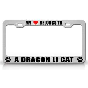 MY HEART BELONGS TO A DRAGON LI Cat Pet Auto License Plate