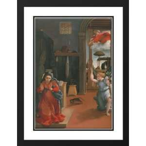 Lotto, Lorenzo 28x38 Framed and Double Matted Annunciation