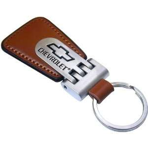 New Chevy Key Chain, Brown Leather Automotive