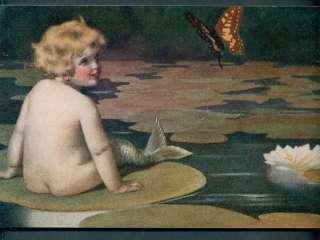 Bessie Pease Gutmann Mermaid Art on board, Lily pad |