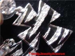 Zebra print AUSTRIAN Crystal Western Cross Earrings
