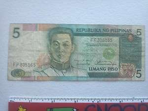 CURRENCY/MONEY PAPER NOTE 5 LIMANG PISO REPUBLIKA NG PILIPINAS