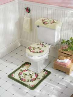 SPRING FLORAL HUMMINGBIRD BATH MAT TOILET COMMODE RUG SET RUGS NEW