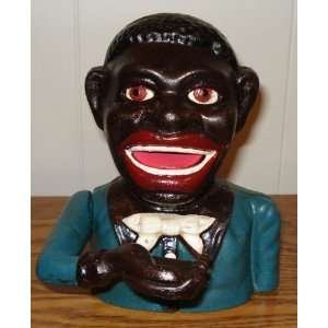 Black Americana Cast Iron Jolly Man Mechanical Bank