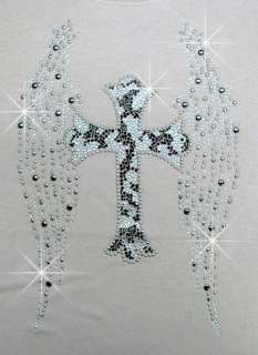 CROSS ANGEL WINGS RHINESTONE IRON ON TRANSFERS HOT FIX