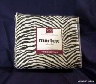 Martex Zebra Animal Print Black/White Twin Sheet Set Dorm, Teen, Kids