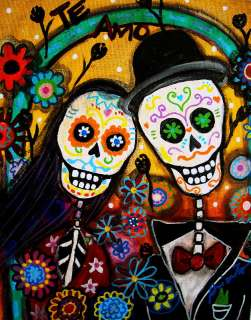 PRINT_Art Mexican FOLK ART Day of the Dead WEDDING Painting Couple