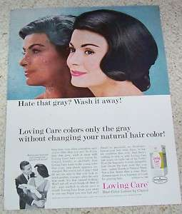 1965 Clairol Loving Care gray hair color lady PRINT AD