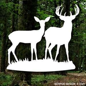 Big buck and Doe deer hunting decal bow hunter H212