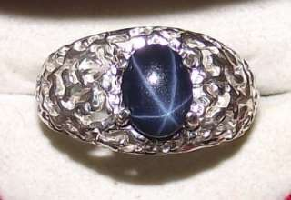 MENS DEEP BLUE STAR SAPPHIRE NUGGET RING NATURAL & GENUINE *6 Ray Star