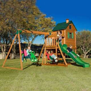 Adventure Play Sets Conqueror Wooden Swing Set Outdoor