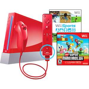 Nintendo Wii Limited Edition Red Console with Wii Sports & New Super