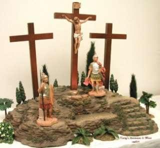 ITALY 5 LITED CRUCIFIXION SCENE 4PC CHRIST ON CROSS EASTER 50601 NIB