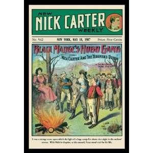 Nick Carter Black Madges Hobo Gang 12X18 Art Paper with Gold Frame