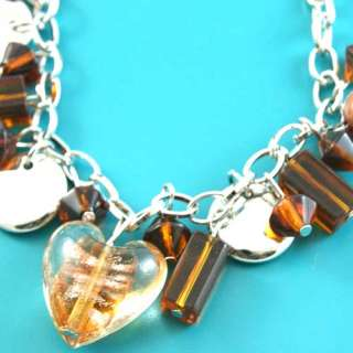 A0273 Lampwork Glass Crystal Heart Beads Charm Bracelet