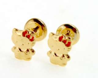 Gold 18k GF Hello Kitty Earrings High Security Childs Girl Birth Gift