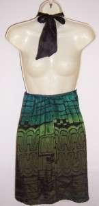 SINGLE Blue/Green Ombre Print Beaded Halter Cocktail Evening dress M 8