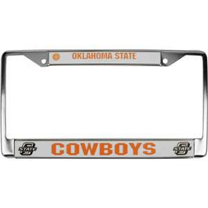 Oklahoma State Cowboys Chrome License Plate Frame Sports Fan Shop